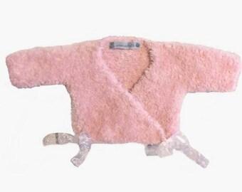 baby fur peach pink handmade wrap Cardigan