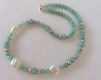Aqua Amazonite, Ice Pink Pearl and Coin Pearl necklace