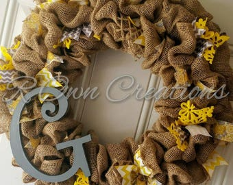 Yellow and Grey Burlap Initial Wreath