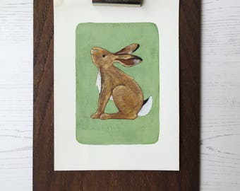 Hare hand-finished, personalised giclee print