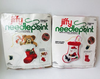 Pair of Vintage Jiffy Needlepoint Christmas Ornament Kits/Vintage Needlepoint Kit/Vintage DIY Christmas Ornament/Sunset Designs Kit/Bears