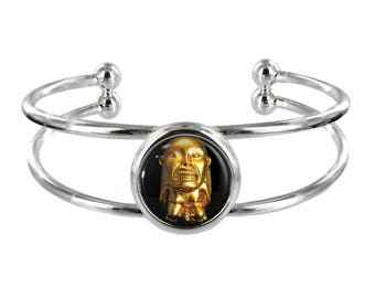 Gold Statuette On Silver Plated Bangle in Organza Gift Bag