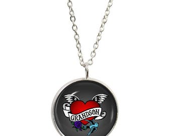 Grandson Tattoo Pendant and Silver Plated Necklace