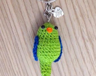 Green and Blue Parrot amigurumi Keyring handmade crochet