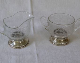 """Vintage Mold-blown and etched Cambridge Glass Sterling-footed Creamer & Sugar, """"Chantilly"""" Pattern"""