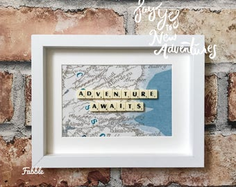 Travel adventure gift - wanderlust wall decor - wanderlust art - adventure awaits - gap year gift - vintage map - personalised frame