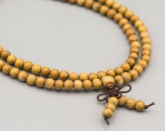 108 Natural Fragrant Golden Sandalwood Beads 6mm First Quality from Nepal aromatic Yoga Mala Bohemian Natural SKU-SANDALW-1