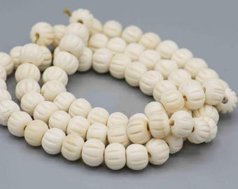 Bone Beads with Carved Lines 8x10mm Boho Ethnic Tribal Jewelry Making Supplies SKU-BSS-4
