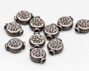 10 Antique Copper Flower Disk Bead 11x9mm