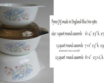 Pyrex England-Blue Iris white ovenware round casserole -set of 3-1980