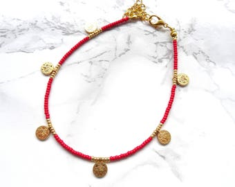 Minimalist beaded anklet bracelet simple coin anklet bohemian red anklet dainty delicate anklet boho chic gold anklet beach jewelry