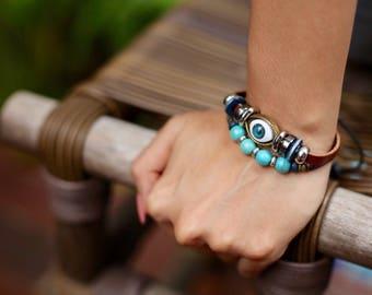 Evil Eye Leather Bracelet, Turquoise Beads Bracelet, Leather Beads Bracelet, Unisex bracelet, Leather Wrist Band, Boho Jewelry, LB50