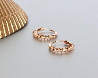 Rose Gold Hoops, 12mm Bali Hoop, Piercing Earrings, Bohemian Earrings, Minimal Jewelry, Everyday Hoops, Gift Hoops, Wirework Hoops(SES114)
