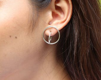 Silver Earrings, Bohemian Earrings, Minimalist Earrings, Silver Circle Earrings, Fashionable Ear Accessory, Bridesmaids Gift, (E111)