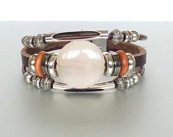 Brown Leather And Rose Quartz Bracelet, Bohemian Black Leather Bracelet, Unisex Leather Bracelet, Gift Bracelet,LO89