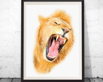 Lion face print, lion print, lion poster, animal poster, lion wall decor, lion painting, lion watercolor, lion nursery print lion home decor