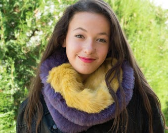 Reversible fur cowl / Yellow and purple faux fur cowl / Ultra violet scarf for women / Two color fur cowl scarf / Faux fur infinity scarf