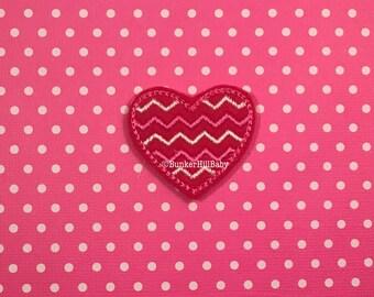 FELTIES Chevron Heart 4 piece RTS red, white, hot pink