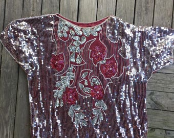 Silk sequin top large and loose