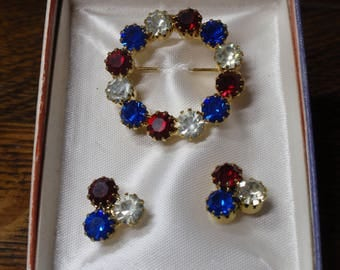 Patriotic  Red White and Blue Rhinestone Brooch and  Earrings