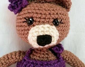 Bear Doll, Melinda Bear, ballerina, amigurumi, Crochet Bear, Teddy Bear, Purple Ballerina, Bear Plush, Handmade Bear, Stuffed Bear, Bear