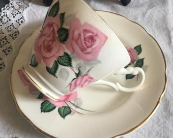 Lovely montfort Staffordshire fine bone china , biltons england duo,roses china / pretty pink tea cup
