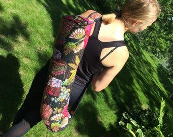 Handmade Cotton Kantha Quilt Yoga Bag.  Free US Shipping.