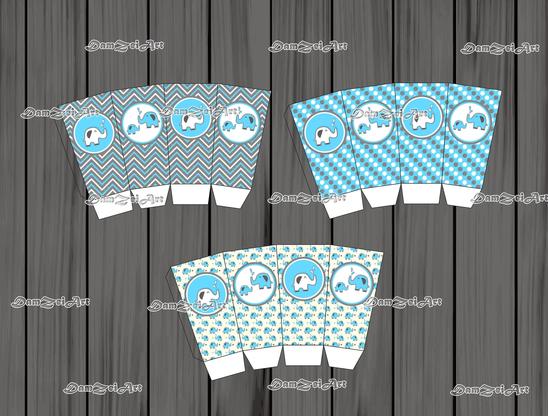Popcorn Treat Box Template Blue And Grey Elephant Baby Shower