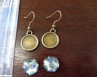 Kit earrings 12 mm cabochons blue zen design