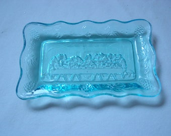 Vintage Tiara Blue Last Supper Tray~1970's~Butter Tray~Blue~Glass~Ornate