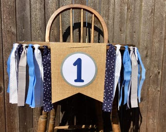 Navy Blue, Baby Blue and Gray High Chair Banner - First Birthday Decorations- Cake Smash Photo Shoot -Baby Boy- One