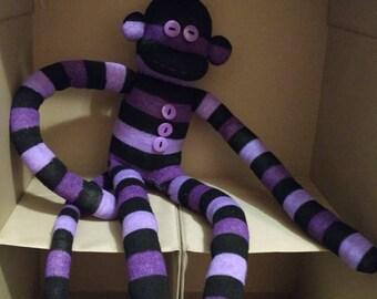 Purple/Black Striped Sock Monkey