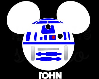 Personalized at R2D2 Star Wars Mickey Minnie Mouse Matching Family Disney World Father Son Vacation Disney Iron On Decal Vinyl for Shirt 042