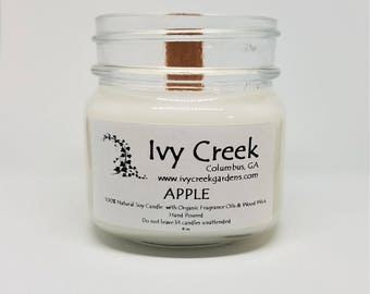 Apple Candle, Apple, Natural Candle, Wood Wick Candle, Crackle Candle, Soy Candle, Wood Wick Candle, Gifts for Her, Christmas