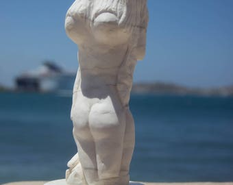 "Hand made sculpture of ""Hermaphroditus""  White Marble"