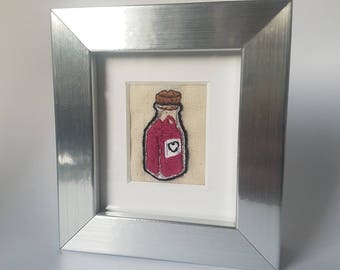Minature framed embroidery 'Love Potion'