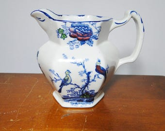 """Scarce Woods & Sons England - Oriental Birds Pitcher - 5"""" Tall X 6 Handle To Spout - Excellent - Great Find!"""