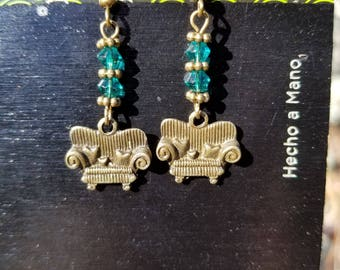 Couch Tour, Dangle Earrings, Blue, Bicone, Crystal, Antique Bronze, Sparkly, Sofa
