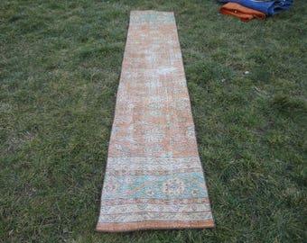 Runner rug ,Turkish vintage rug,hallway runner rug,kitchen rug,Free shipping rug ,113 x 23 inches,Hand made Turkish wool rug !!!