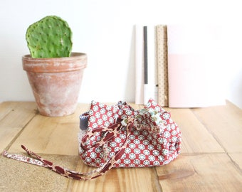 Red and white polka dot and striped fabric purse blue and white