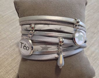 Bracelet personalized name - cabochon - stars - silver - - cuff - mother's day-gift idea