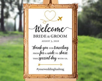 Wedding welcome sign - destination wedding welcome sign - thank you for traveling - PRINTABLE - 16x20 - 18x24 - 20x30 - 24x36