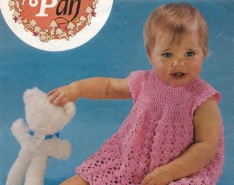 Vintage crochet baby dress pattern in pdf