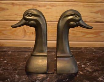 Huge Vintage Brass Duck Bookends