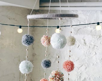 Pom Pom Mobile- Nursery Mobile- Baby Mobile- Crib Mobile- Nursery Decor - Baby Shower Gift - Boho- Baby Girl Gift- Baby Boy Gift