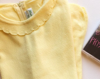 60s VTG scalloped collar canary top