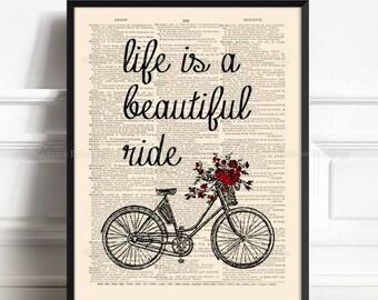 Flowers Bike Print, bicycle art, Print Bike Gift Him, Grandma Xmas Gift, Life Beautiful Ride, Anniversary Gift, 30th Birthday Gift, Mom  423