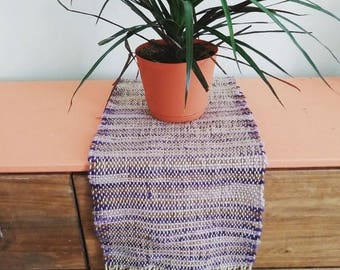 Unique Handwoven Table Runner- Hand-dyed Purple/Beige/Brown
