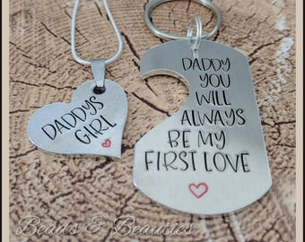 Fathers Day Keyring with necklace for daughter, Daddy Keychain, Dad & Daughter, Gift, Personalised