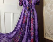 Summer Boho Tie Dye Festival Hippie Corset Lace up Maxi Full Length Georgette Lined Dress Handkerchief Hem Dress freesize 12 14 16 18U.K.